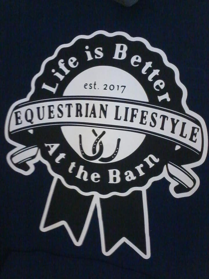 Equestrian Lifestyle Navy Ribbon/ white backgrond Medium