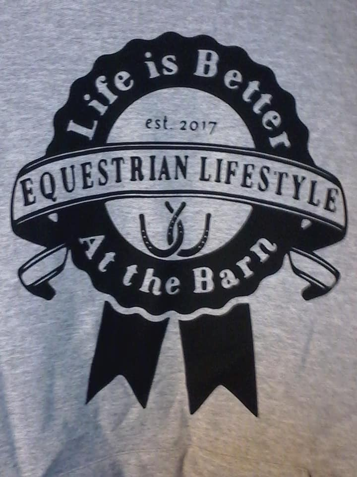 Equestrian Lifestyle Color: Sport Grey Graphic: Ribbon/ clear background Size: Large