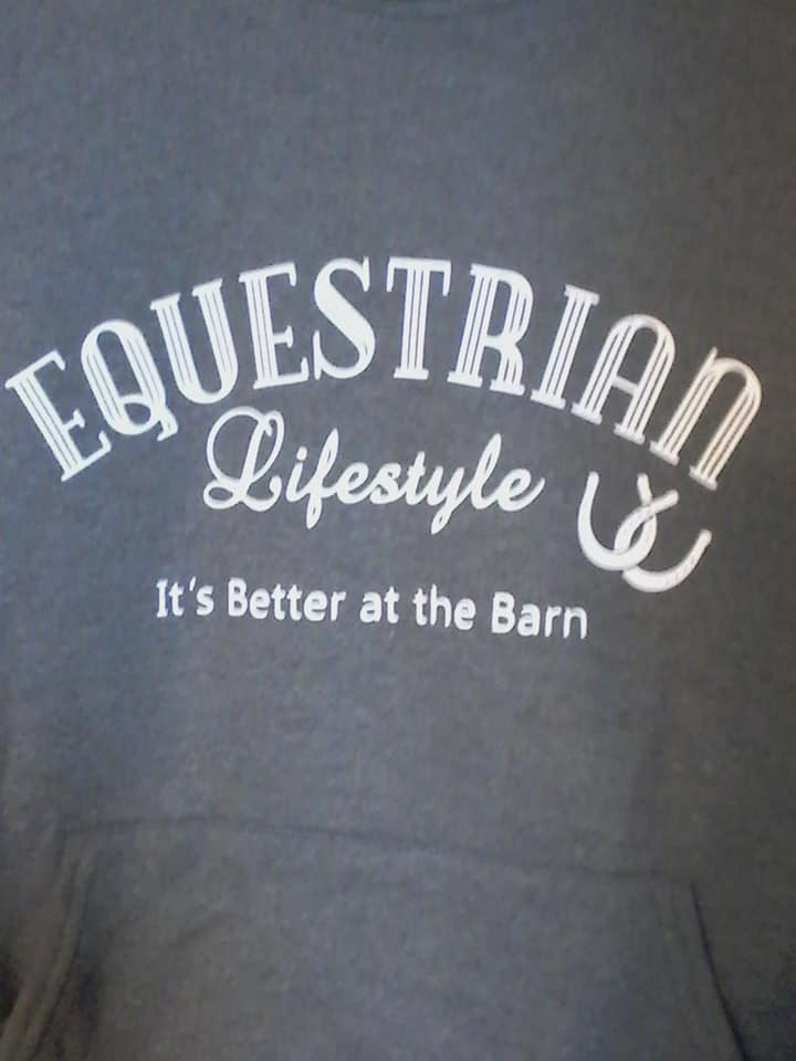 Equestrian Lifestyle Color: Dark Grey Graphic: White Phrase Size: Small
