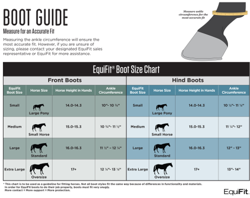 EQUIFIT boot size chart