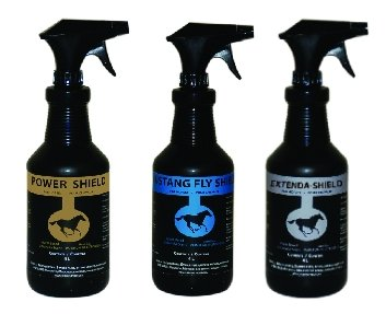 Golden Horseshoe Fly Control Products; power shield, mustang fly shield, extenda shield