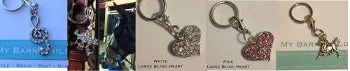 my barn child bridle charms;Treble Clef, Skull, White and Pink Hearts, petite pony