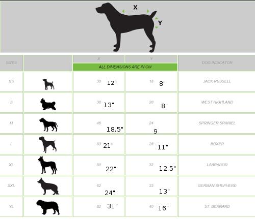 Sportz Vibe Dog Blanket size chart