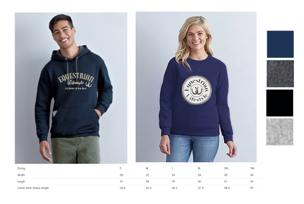 Equestrian Lifestyle Hoody and Crewneck Sweatshirt
