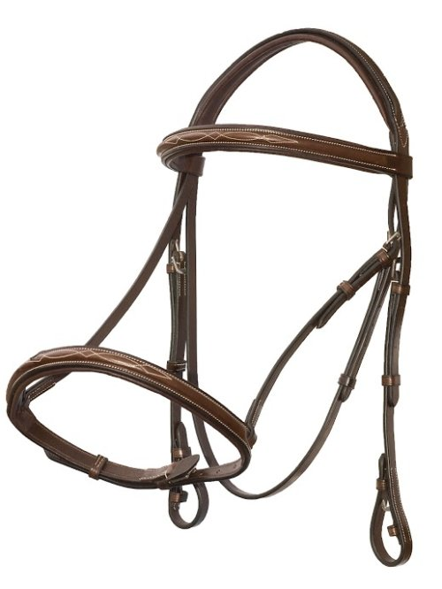 Tuscany Round Raised Fancy Stitched Bridle with Laced Reins