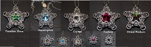 chainmaille jewelry wishing star with swarovski center